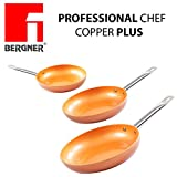 Originali Chef Copper Plus - Set di 3 padelle in rame super resistente! Diametro 20/24/28 Innovativo rivestimento antiaderente senza PFOA – pan red pans Fondo idoneo per cucina a induzione 1165