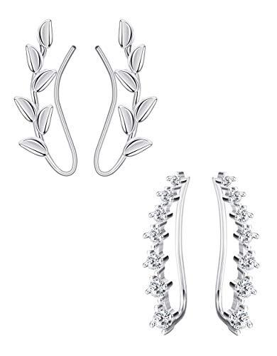 Milacolato 2 Paar Ohrklemmen Silber 925 Ohrringe Damen Ear Crawler Ohrringe 7 CZ Leaf Climber Ohrringe für Damen Mode Ohrmanschette Ear Cuff Set