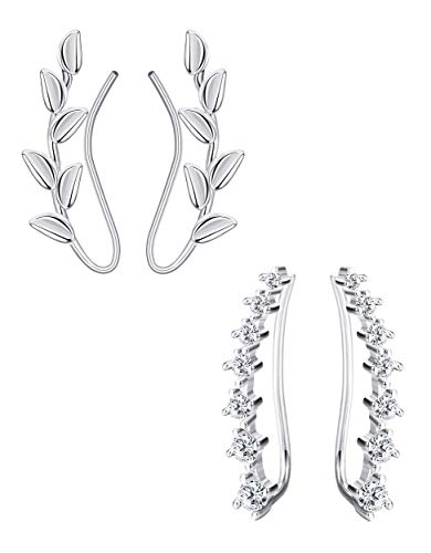 Milacolato 2 Paar Ohrklemmen Silber 925 Ohrringe Damen Ear Crawler Ohrringe 7 CZ Leaf Climber Ohrringe für Damen Mode Ohrmanschette Ear Cuff Set