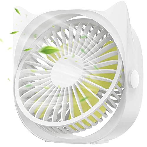 OTLLE Portátil Mini Ventilador de Mesa, Pequeña USB Ventilador de Enfriamiento Rotación de 360°, 3 Velocidad del Viento Ajustable, Personal Tranquilo Ventilador por Casa, Oficina, Colegio