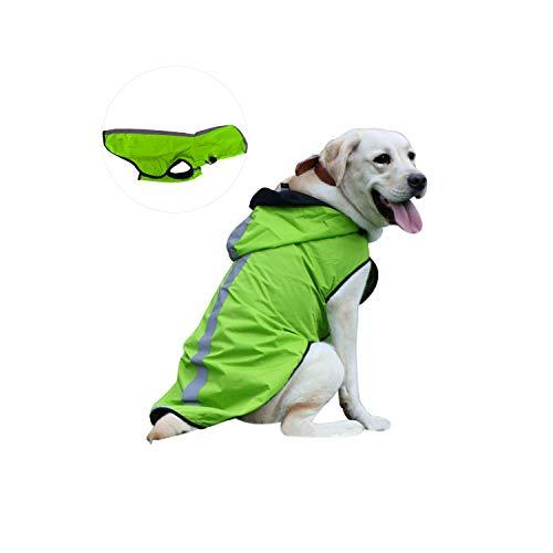 Kamots Beauty Wasserdichter Hunde-Regenmantel, leicht verstaubar, Jacke mit reflektierenden Streifen für hohe Sichtbarkeit – verstellbare Kapuze Poncho für kleine, mittelgroße und große Hunde