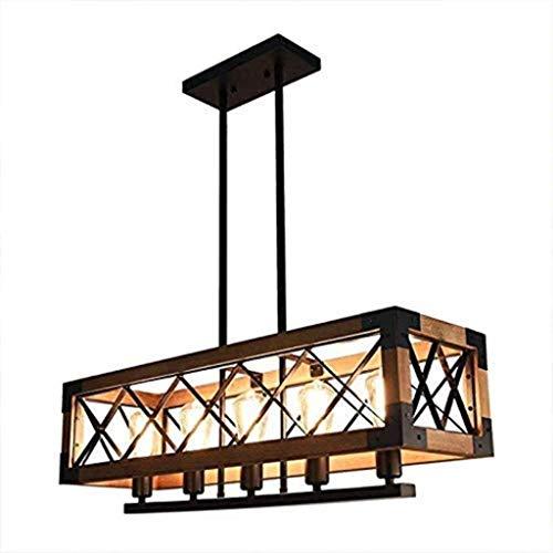 Loft Vintage kroonluchter van hout, industrieel antiek metaal 5 lampen tafel eettafel hanglamp voor restaurant keuken kleding winkel