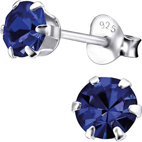 EYS JEWELRY Pendientes para señora círculo redondo 5 x 5 mm Zirconia plata de ley 925 azul-zafiro con la caja Pendientes mujer