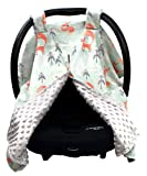 Dear Baby Gear Deluxe Baby Car Seat Canopy Cover, Woodland Foxes and Pine Trees, Minky Dot, Light Gray
