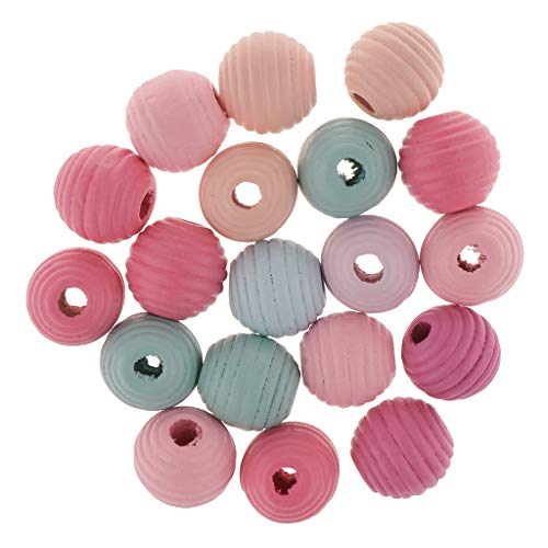 Harilla 20x Natural Painted Dyed Mixed Round Wood Beads Lot 20mm with Large Hole 6mm