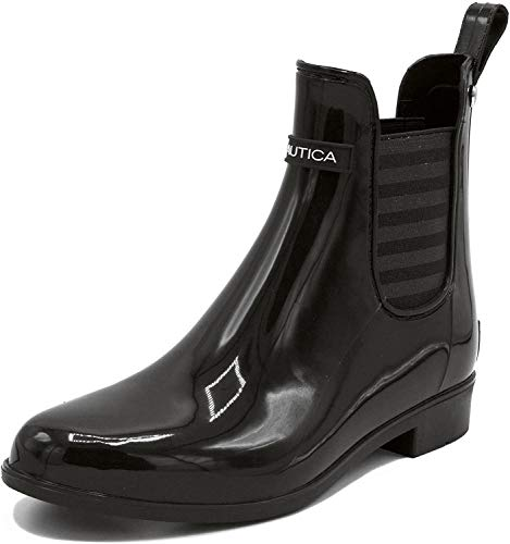 Nautica Ladies Windsail Womens Low Shaft Ankle/Mid Calf Gore Bootie Waterproof Rain Boot-Black-Shayna-10