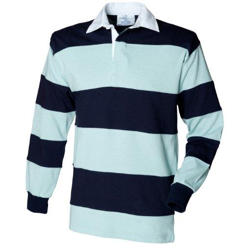 Front Row - Polo de rugby rayé à manches longues 100% coton - Homme (XL) (Bleu clair/Bleu marine)