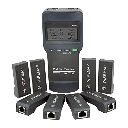 NOYAFA Network LAN Cable Tester Wire Length Tester AT239,8 Remote Units Cat5E/ 6E UTP STP CAT5 RJ45 NF-8108M