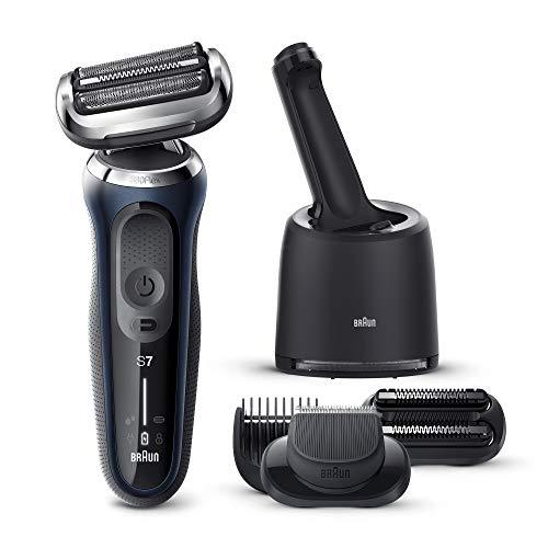 Braun Series 7 70-B7850cc Afeitadora Eléctrica, máquina de afeitar barba hombre de lámina, Con Centro De Limpieza SmartCare, 2 Accesorios EasyClick, Uso En Seco Y Mojado, Recargable, Inalámbrica, Azul
