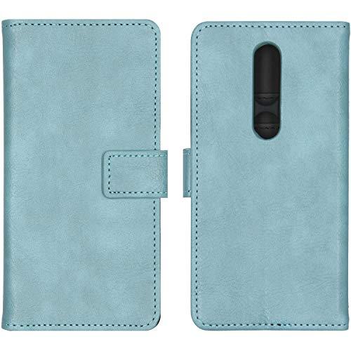iMoshion Booktype Hülle kompatibel mit Nokia 4.2– Luxuriöse Handyhülle – Handytasche in Hellblau [Mit Ständer, Platz für 3 Karten, Magnetverschluss]