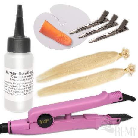 RemyHaar.eu - Starter Set Haarverlängerung 27 Teile U-Tip 0,5g 20x Echthaar Strähnen Bonding Extensions Wärmezange Glatt - 60cm 24