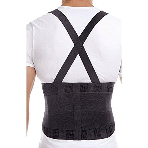 TOROS-GROUP Faja para la espalda con tirantes, apoyo lumbar, culturismo/halterofilia/levantamiento de pesas Unisex Small Negro