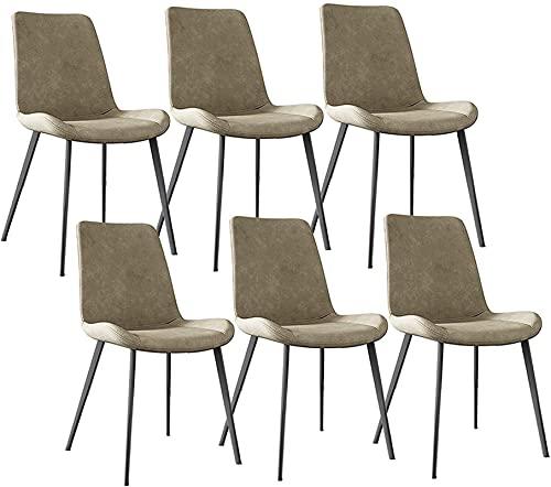 VEESYV Juego de 6 sillas de comedor de metal con respaldo de piel sintética para sillas de cocina, sillas de salón o esquinas. Color: