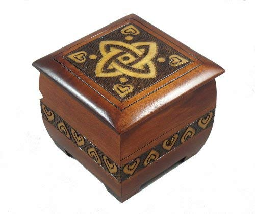 Modern Sailor Celtic Knot and Tribal Heart Handmade Box with Lock and Key Desk or Dresser Trinket Keepsake Holder Perfect Watch Storage Box