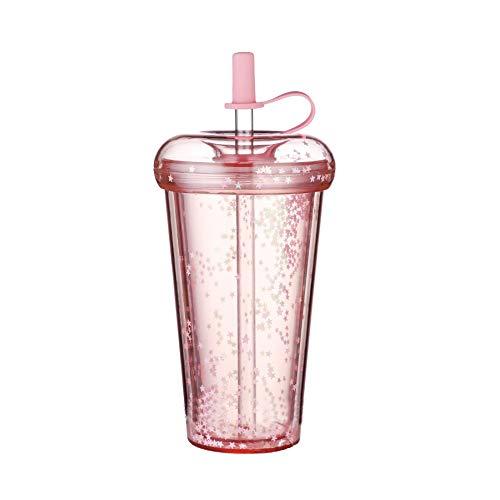 Trinkbecher, Finsink Doppelwandig Strohbecher Kaffeetassen Bubble Tea Becher 420ml Trinkflasche mit Deckel und Strohhalm für Saft Kaffee wiederverwendbar