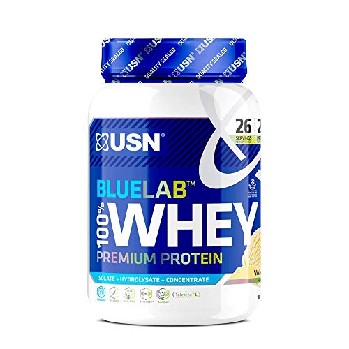 USN Blue Lab Whey Vanilla 908 g, 100 Percent Lean Muscle Protein Powder, Ideal for Recovery & Maintenance (Packaging may Vary)