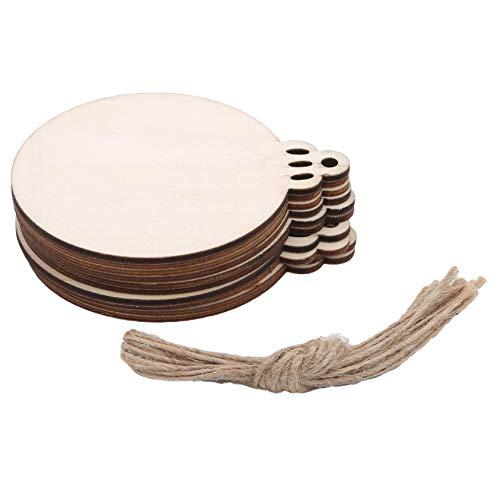 ZYYXB 10 piezas de adornos de madera para árbol de Navidad, discos redondos para colgar adornos para manualidades y tarjetas de Navidad