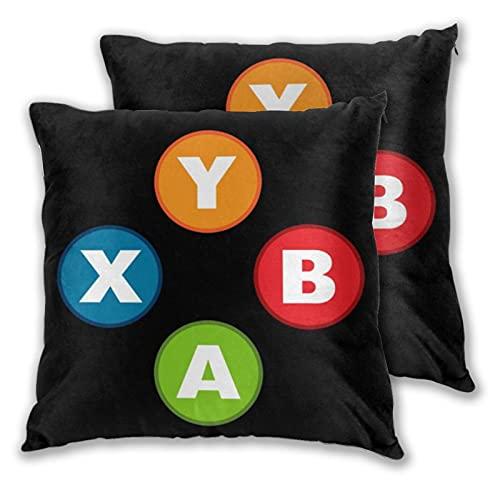 Juego de 2 fundas de almohada decorativas con controlador de videojuegos, fundas de almohada impresas en dos lados para sofá, cama, sala de estar, 45,7 x 45,7 cm