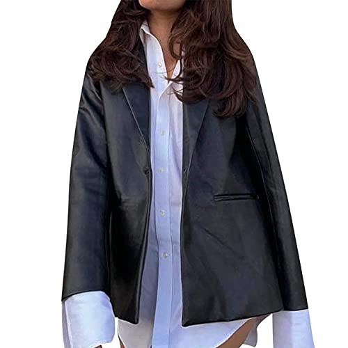 Chaqueta de piel de manga larga para mujer Otoño e Invierno Color Sólido Blazer Y2K E-Girl Vintage Coat Streetwear, Negro, 36