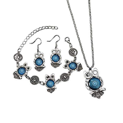 lffopt Collar Hombre Clásico Collar Elegante Collar Collar Pendientes Pulsera Conjunto de Joyas Collar Festival Collar Inusual Collar de la Suerte Blue