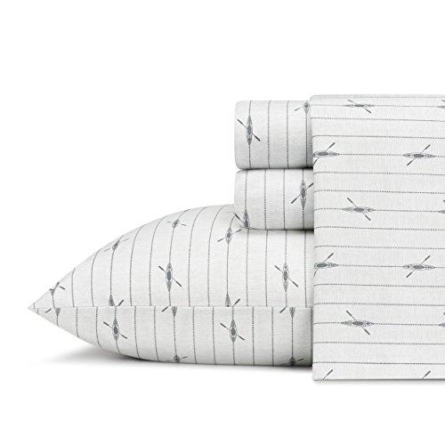 Eddie Bauer Home   Percale Collection Sheet Set-100% Cotton, Crisp & Cool, Lightweight & Moisture-Wicking Bedding, Queen, Downstream