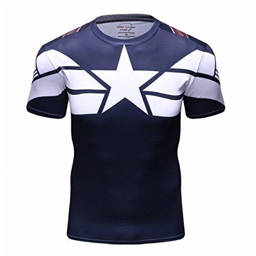 Cody Lundin Herren Mode Amerika führend Logo Runing Übung Hemd Fitness Sport Short Sleeve (M)