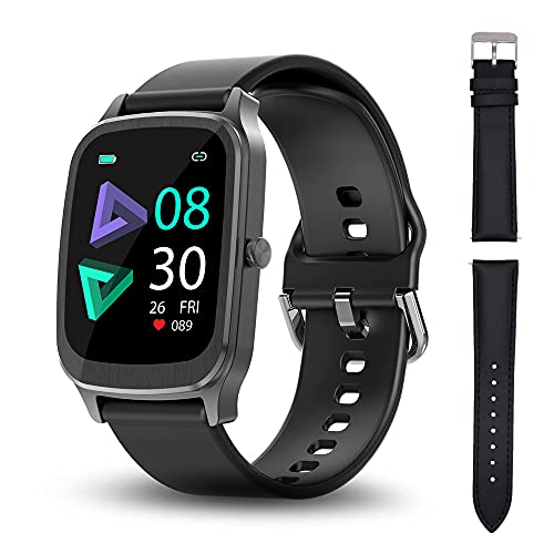 Smart Watch, Hongmed Sport Fitness Tracker for Android Phones iPhone Compatible, Smartwatch with Heart Rate, Sleep, Swimming Tracking, Waterproof Activity Tracker with Compass for Men Women Black