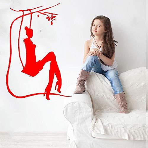 JJHR Wandtattoos Wandaufkleber Salon Mädchen Auf Schaukel Silhouette Kunst Design Wandaufkleber Wandbild Home Schlafzimmer Süße Dekor Tapete Aufkleber 38 * 25 cm