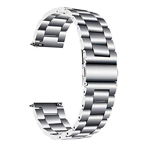 Correa de reloj de acero inoxidable 22 de 20 mm para Amazfit Amazfit Stratos Bip Band Sport Correa de reloj fácil de reemplazar, correa de metal (color: plata, tamaño: 20 mm amazfit bip)