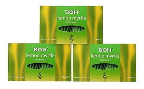 3-Pack/ BOH Award Winning Tea Brand/Lemon Myrtle/Tangy Lemongrass, Lime & Lemon Flavour/Light & Refreshing With Delicate Lemony Scent, Leaving You De-Stressed & Invigorated/Caffeine Free/25 herb bagss