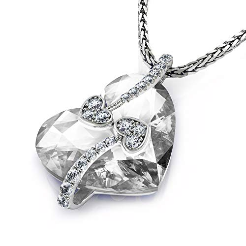 DEPHINI - Crystal Heart Necklace - Beautiful Love Heart Pendant - Cubic Zirconia - 925 Sterling Silver - 18 inch Chain