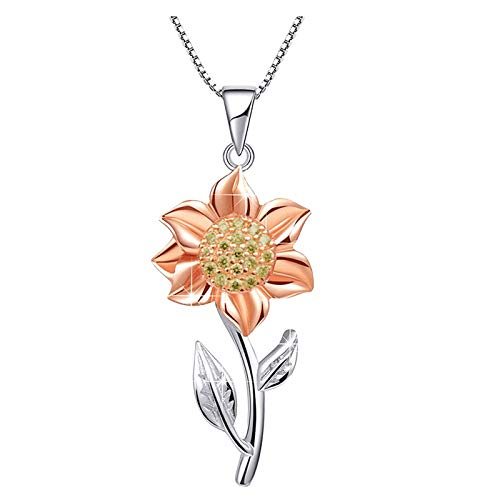 Kingwo Sunflower Pendant New Fashion Elegant Zircon Necklaces For Women,Silver Chain Jewellery Gifts For Mum Daughter Women Girls(Rose Gold)