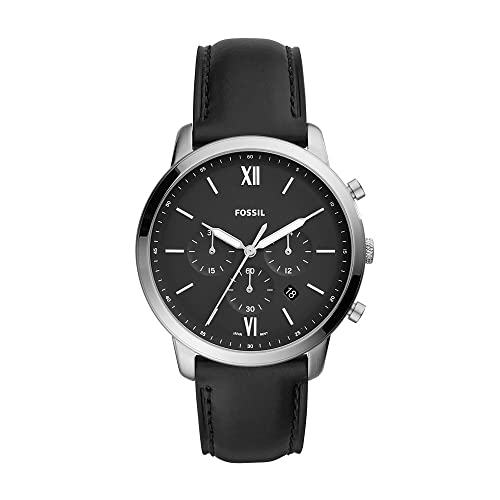 Fossil Men's Neutra Quartz Stainless Steel and Leather Chronograph Watch, Color: Silver, Black (Model: FS5452)