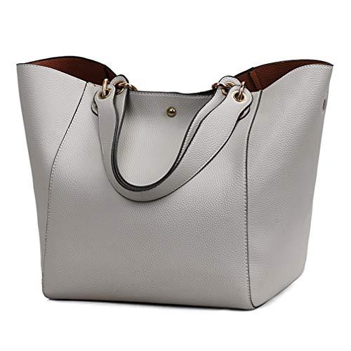 Pahajim moda bolso bandolera mujer grande cuero mujer bolsos tote bolsos impermeables mujer bolso shopper de viaje mujer bolsos para libros bolsos de marca mujer(Gris)