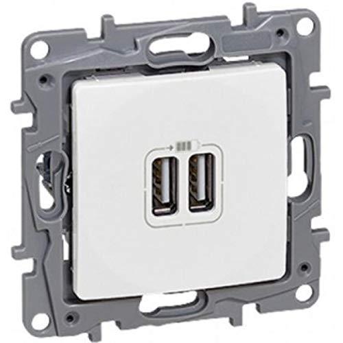 Legrand Niloe 764594 Unterputz Dual USB Anschlüsse Steckdose Ladegerät Elektrische Platte Steckdose Weiss mit Rahmen
