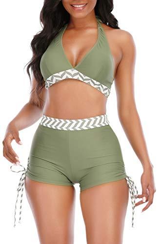 Adisputent Womens High Waisted Bikini with Boy Shorts Retro Two Piece Swimwear Triangle Halter Tops Tummy Control Sexy Backless Swimsuits Green Large