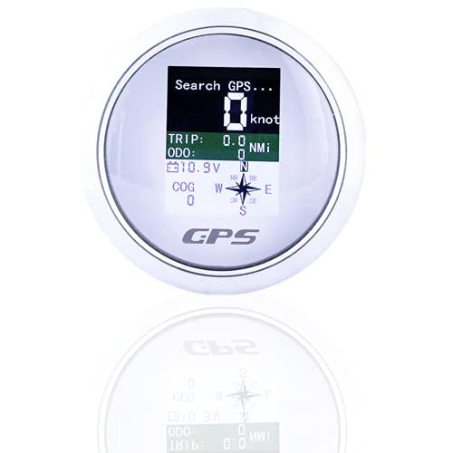 GPS Tachometer Geschwindigkeitsmesser Kilometerzähler für Auto Boot 85mm(Weiß)