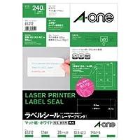 (まとめ) エーワン レーザープリンターラベル マット紙・ホワイト A4 12面標準タイプ 83.8×42.3mm 角丸 65312 1冊(20シート) 【×5セット】