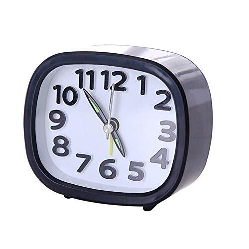 Portable Cute Alarm Clock Rectangle Small Bed Compact Travel Quartz Beep Home Decor Living Room Bedroom Desk Table Clocks Black