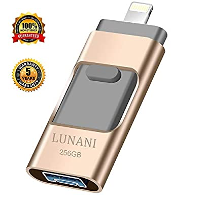 USB Flash Drive for iPhone_ LUNANI iPhone Flash Drive 256GB photostick Mobile for iPhone USB 3.0 iPhone External Storage,Android,PC Photo iPhone Picture Stick from LUNANI
