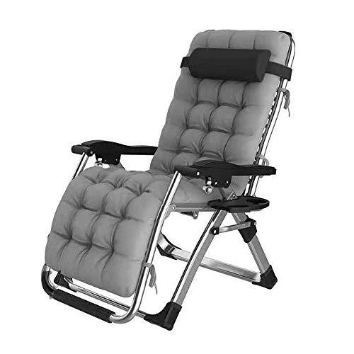 DX reclinable portátil plegable, dientes de aleación de aluminio ensanchados, ajustable en cualquier ángulo, para jardín de balcón al aire libre, negro + gris