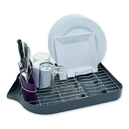 Calitek Chrome Anti Rust Kitchen Dish Rack Drainer with Removable Drip Tray and Cutlery Holder