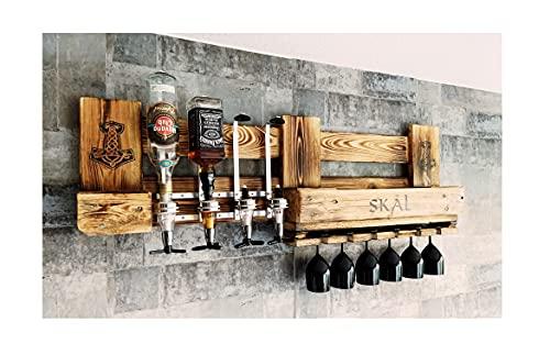 WIKINGER BAR Weinregal Personalisierbar mit Getränkespender Rustikal Met Bier Schnaps Regal Whisky Geschenk Mann Weinregal Wand Palette