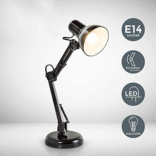 LED-Tischlampe, Halogen Adjustable, E27 Lampenfassung, Retro Leselampe, Mit Metall Gelenkarmständer E14 Schreibtischlampe 240V |IP20 [Energieklasse A ++]