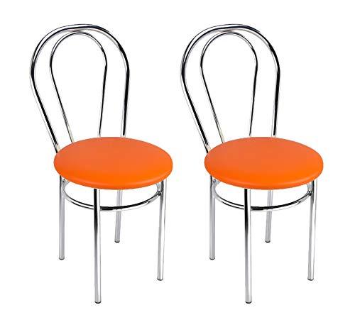 BSD Silla de Comedor de Cuero Sintético de Diseño Moderno, Set de 2 Sillas de Comedor con Patas de Metal - Tulipan Cromo - Color: Naranja - Set of 2