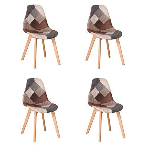 Uderkiny Juego de 4 sillas Silla de Comedor de Retazos Silla