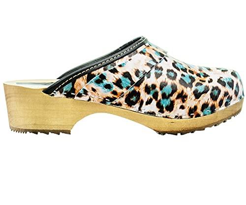 ESTRO Zuecos De Madera para Mujer Calzado Sanitario De Trabajo CDL06 (Pantera, Numeric_39)