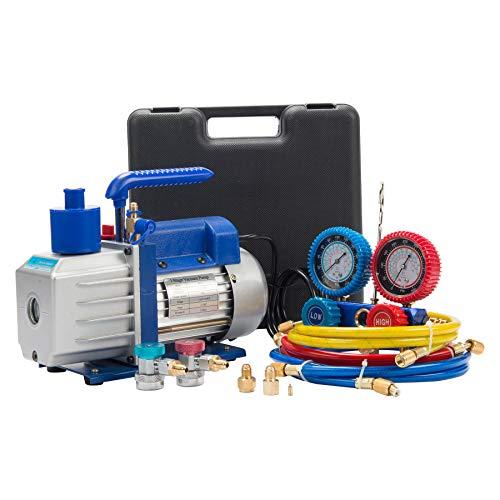 Z ZELUS 4,8 CFM Kit de Pompe à Vide de Fluide Frigorigène, 1/3HP Pompe à Vide de Réfrigération Digital, Ensemble de Jauge Collecteur de Diagnostic HVAC AC R134a R22 R410a (4,8 CFM)