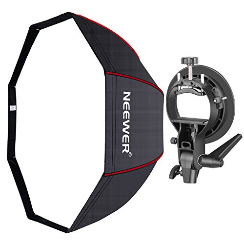 Neewer 32 inches/80 centimeters Octagonal Softbox with Red Edges, S-Type Bracket Holder (with Bowens Mount) and Carrying Bag for Speedlite Studio Flash Monolight, Portrait and Product Photography