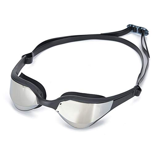 bizofft Gafas de natación Unisex para Adultos, Gafas de natación antivaho con 3 Colores Diferentes para Nadar(Marco Negro Plateado, Tipo de Amor)
